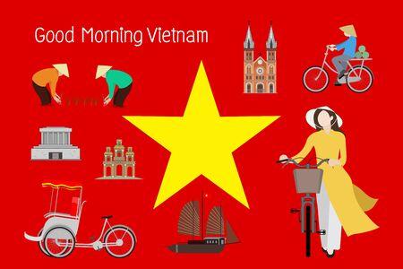 Travel to Vietnam. lifestyle and landmarks. Vector illustration Vector Illustration