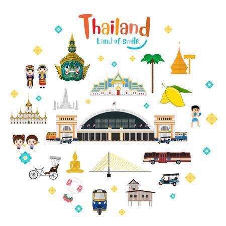 Set to Thailand No.1, Attraction, Landmarks, Transportation. Vector illustration Ilustrace
