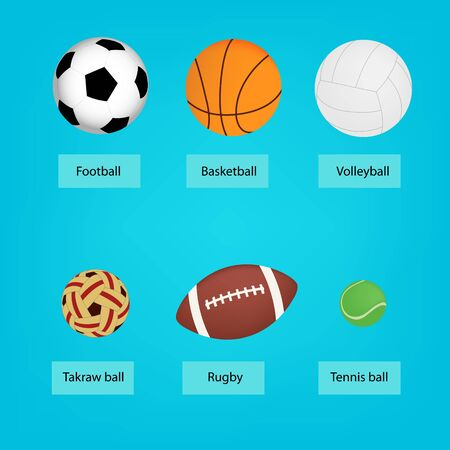 Set to sports balls. vector illustration