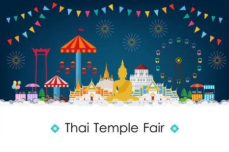 Thai temple fair night. Vector illustration