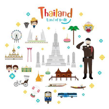 Set to Thailand travel and landmarks. Vector illustration 向量圖像