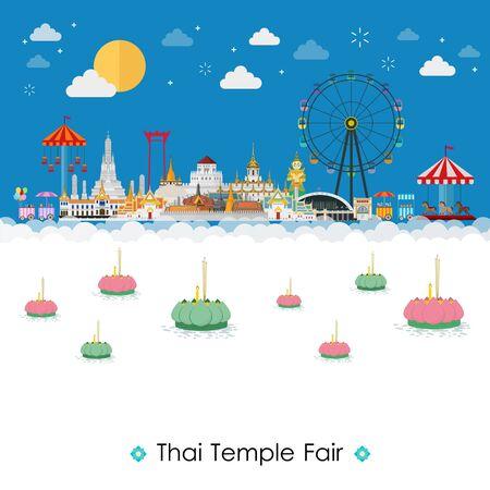 Thailand paradise ocean landscape and Loy Krathong Festival
