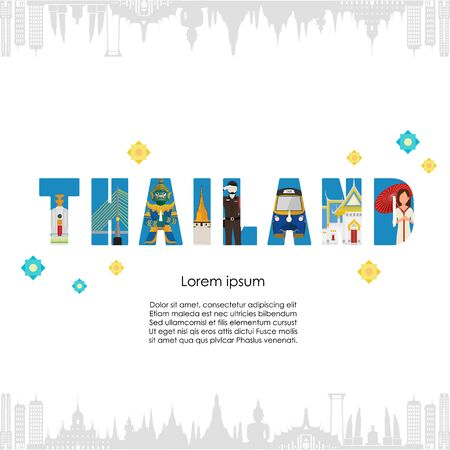 Thailand with attractions, landmarks. vector illustration
