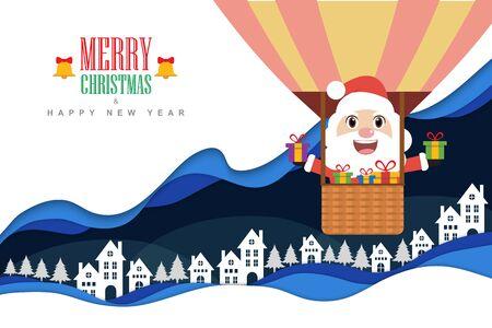 Paper art style. Santa claus on air balloon. vector illustration Ilustrace