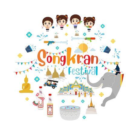 Songkran water festival in thailand. Vector illustration