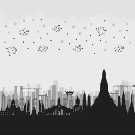 Thailand and factory with PM2.5 Unhealthy air pollution dust smoke Ilustrace