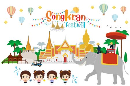 Songkran water festival in thailand. Vevtor illustration