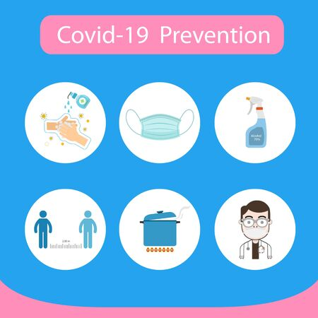 Infographic covid-19 prevention. Flat design