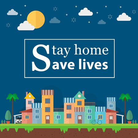 Stay home save lives. Vector illustration 向量圖像