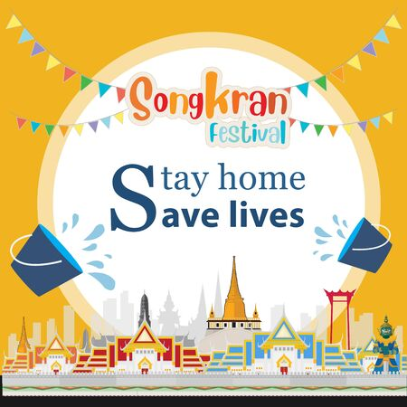 Songkran festival. Stay home save lives 向量圖像