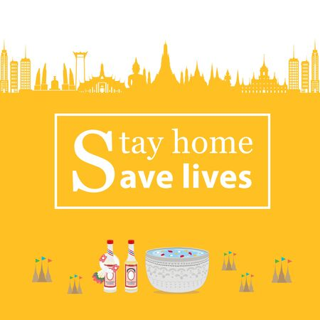 Songkran festival. Stay home save lives people in thailand Ilustrace