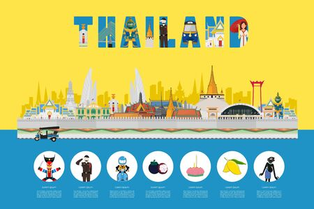 Lifestyle to visit in Thailand. Template design, website, poster. vector illustration