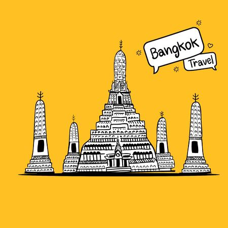 Hand drawn doodle. Wat Arun is a Buddhist temple in Bangkok, Thailand