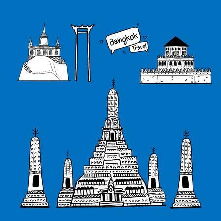 Hand drawn doodle. Thailand with attractions, landmarks. Bright color background Ilustrace
