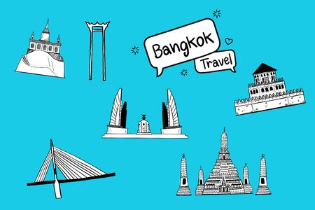 Hand drawn doodle. Thailand with attractions, landmarks. Bright color background Çizim