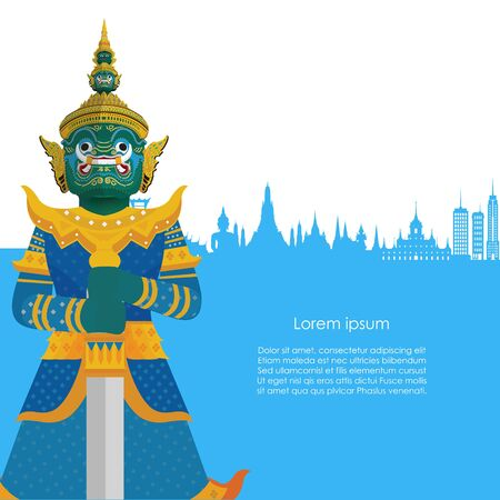 Guardian Giant in Thailand with Blue landmarks background. Vector illustration