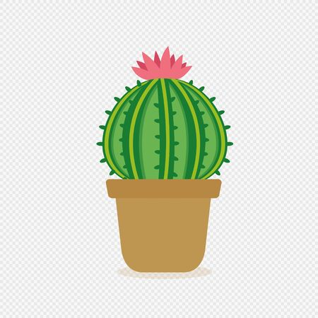 Little cactus in clay pot. vector illustration 向量圖像