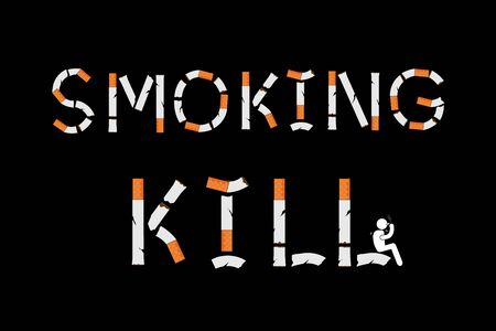 Smoking kills sign with cigarettes shape. Vector illustration Ilustrace