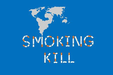 Smoking kills sign with map smoke. Vector illustration