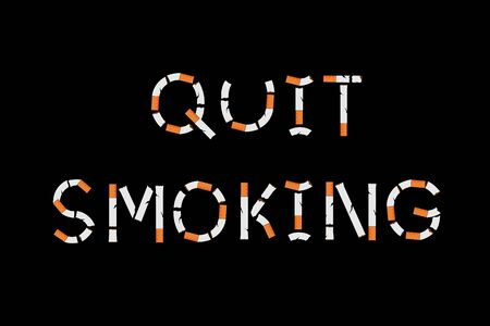 Quit smoking sign with cigarettes shape. Vector illustration