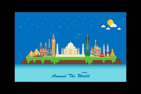 Around the world with famous landmarks design Ilustrace