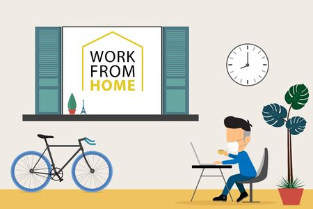 Work from home with coworking space. Vector illustration Çizim