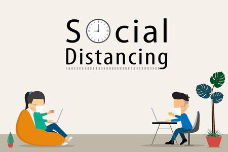 Social distancing from home. vector illustration
