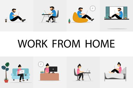 Work from home. Team working on laptop at home. Vector illustration