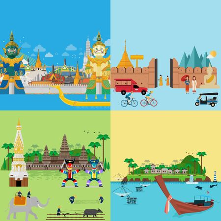 Thailand tour to central, northern, northeast and southern. Vector illustration