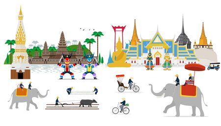 Travel to Thailand. Amazing attractions and culture. flat design