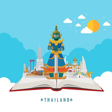 Open book. Travel to Amazing Thailand and attraction. Vector illustration Vetores