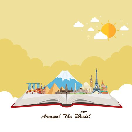 Open book. Travel to World. Travel composition with famous world landmarks. Vector illustration 向量圖像