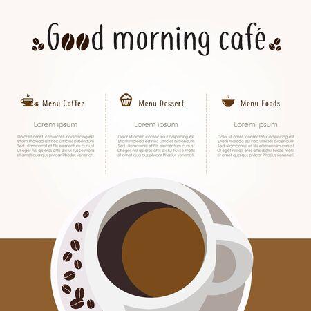 Coffee restaurant brochure vector, coffee shop menu design. Vector cafe template Иллюстрация
