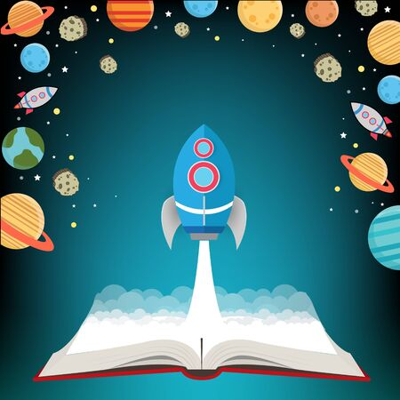 Open book go to galaxy and spaceships. Vector illustration