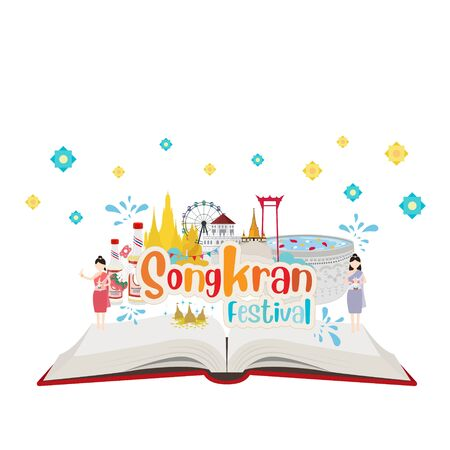 Open book. Thai new year or songkran water festival thailand Çizim