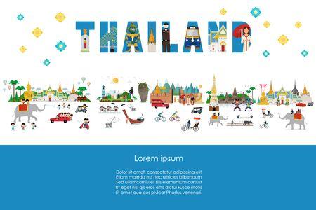 Thailand lifestyle and landmarks. Vector illustration