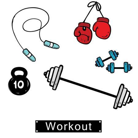Set of hand drawn doodle workout. Vector illustration