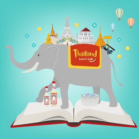 Open book. Thai elephant and landmarks. Vector illustration
