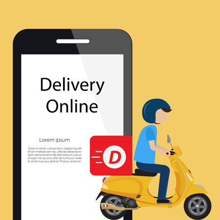 Online food order and Fast delivery ride Scooter Ilustrace