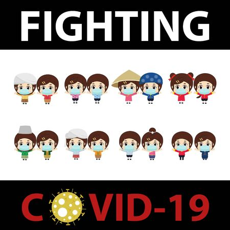 Asian people with fighting covid-19. Vector illustration