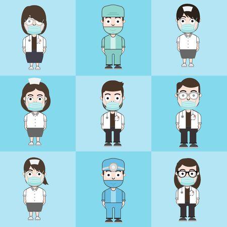 Doctors team wear mask protection. Vector illustration