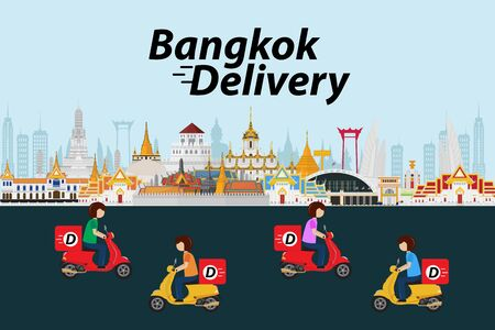 Bangkok delivery ride scooter. Vector illustration Ilustrace