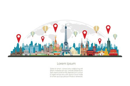 Check in famous world landmarks on the globe. Vector illustration Ilustrace