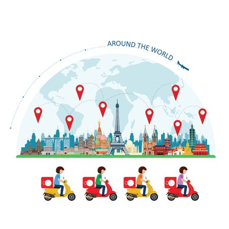 World landmarks and delivery ride scooter. Vector illustration