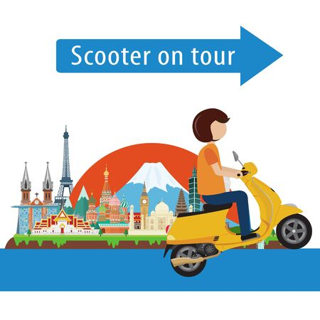 Man ride scooter on tour. Vector illustration