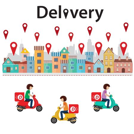 Delivery man ride scooter to colorful town. Vector illustration Иллюстрация