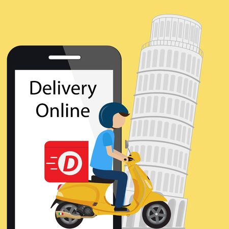 Online food order and Fast delivery ride Scooter 向量圖像