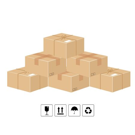 Cardboard box delivery packaging. Flat design