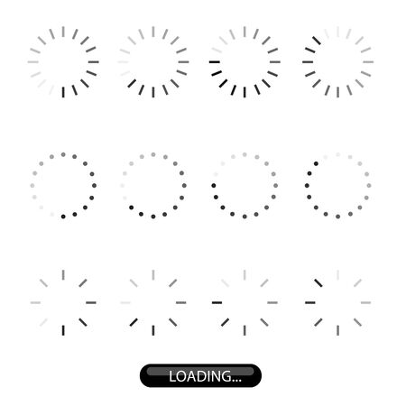 Loading sign icon set for upload and download. Vector illustration