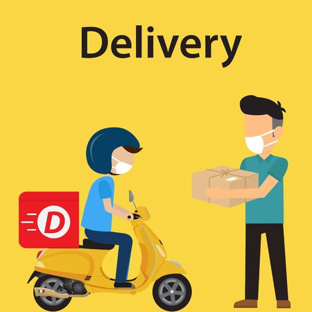 Customer delivery and safety use face mask. Vector illustration 向量圖像